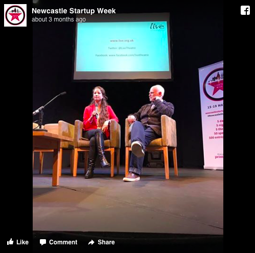 SkyeTrubov and JimBeirne onstage at Newcastle Startup Week 2017
